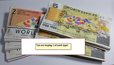 1 of each $2 & $5 Souvenir Tourist Dollars banknotes World EXPO 88 Brisbane
