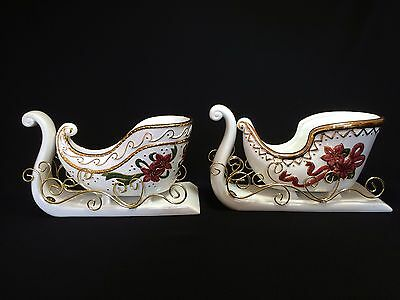 """Set of 2 Large 10.5"""" White Porcelain Sleighs Red Poinsettias Gold Holiday Decor"""