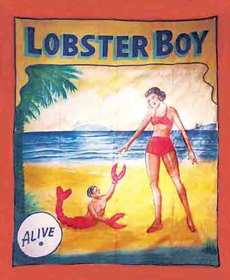 Vintage Freakshow  Sideshow  Circus Fair Carnival   Lobster Boy  Banner