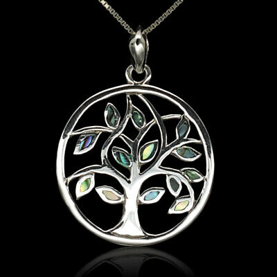 Olive Tree of Life Abalone New 925 Sterling Silver Pendant Chain Necklace Gift