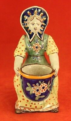 Antique French Faience Master Salt Cellar - Seated Woman - Marked Earthenware