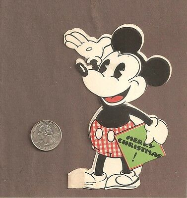 VINTAGE ORIGINAL MICKEY MOUSE HALL BROS CHRISTMAS CARD 1930's HALLMARK