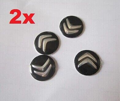 2x (black) Citroen Replacement Key Fob Logo Sticker Badge 14 mm /-16-/