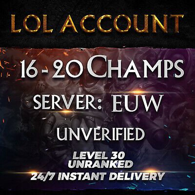 League of Legends Account EUW LoL Smurf Acc 16 - 20 Champs  Level 30+ Unranked
