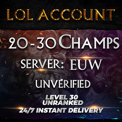 League of Legends Account EUW LoL Smurf Acc 20 - 30 Champs Level 30+ Unranked