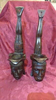 Vintage Mid- Century 50's- 60's Carved Polynesian Diver Statues Hawaiian Surfing