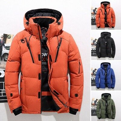 Mens Duck Down Coat Winter Warm Jacket Thick Hooded Climbing Parka Outerwear Lot