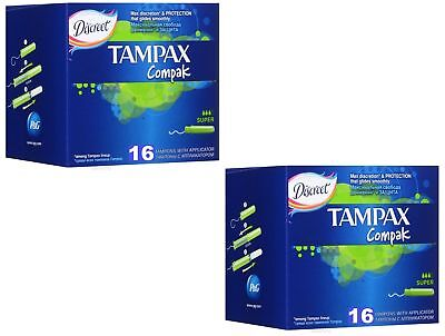 Tampax Compak Super 32 ct Count Tampons with Applicator 2pack x16 no 18/36 20/40