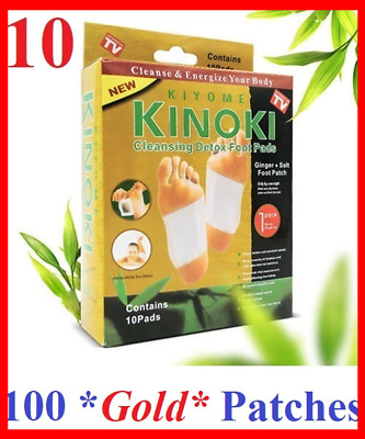 100 Pcs Kinoki GOLD Premium Detox Foot Pads Organic Herbal Cleansing (10 Box)
