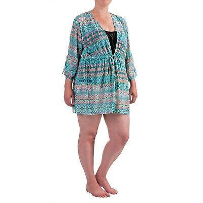 fd9fbf6eb7ce4 Swimsuit Swim Cover Up Blue Teal 3/4 Sleeve Size 18 Seekers Contour NWT