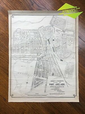 ANTIQUE c.1910 LINEN-BACKED ROBERT S. FREARSON MAP PLAN OF PORT ADELAIDE SA