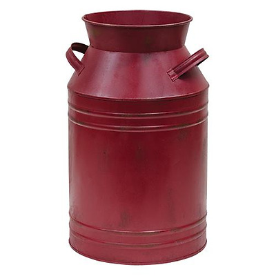"""New Primitive Country Farmhouse Chic RED MILK CAN Bucket Rusty Metal Decor 14"""""""