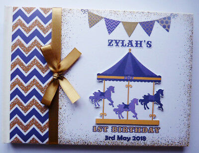 Personalised Carousel Girls Birthday Guest Book / Scrapbook - Any Design