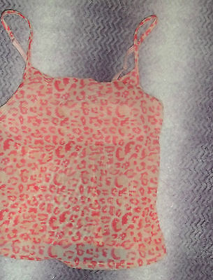 Pink Animal Print Sheer Layering Camisole Small