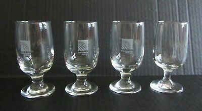 """Lot of 4 Continental Airlines 5 oz Small Wine or Spirits Glasses 4.5"""" tall"""