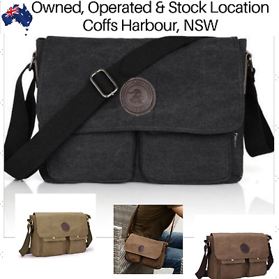 Mens Canvas Bag Shoulder Messenger School Bag Vintage Military Travel Satchel