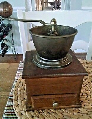 Vintage Style Wood Spice Coffee Grinder Mill Hand Crank brass bowl &crank handle
