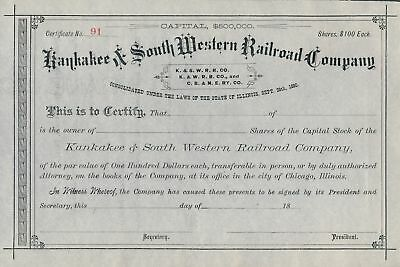Unissued 1880 Kankakee & South Western Railroad Stock Certificate