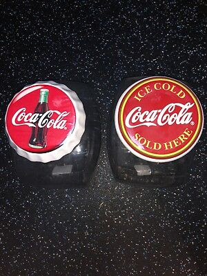 TWO Vtg Coca Cola Coke Anchor Hocking Glass Canister Cookie Candy Jar
