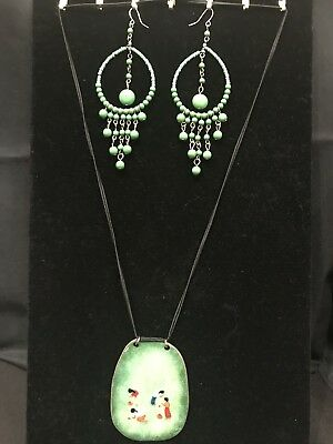 Guatemala Vintage Hand Made Earrings and Necklace