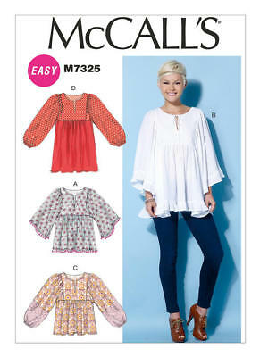 McCall's Sewing Pattern 7325 Misses 16-26 Easy Loose Pullover Top Tunic Shirt