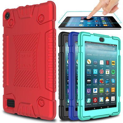 For Amazon All-New Fire HD 8 2018/2017 Tablet Screen Protector + Case Cover Skin