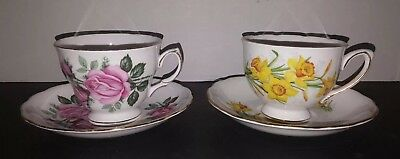 Set of 2 Royal Vale Bone China Tea Coffee Cup and Saucer Each w Floral Pattern