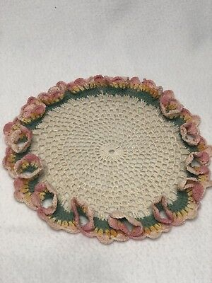 Vintage HAND-CROCHETED and Starched Circular Doilie PINK GREEN FLORAL  8.5""
