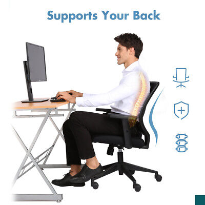 Adjustable Seat Height & Armrest Mid-Back Home Office Chair 360° Swivel 120 Kg