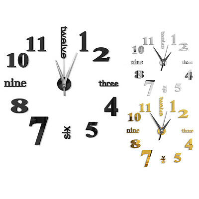 3D Large Wall Clock Mirror Sticker Big Watch Sticker Home Decor Unique Gift D5A5