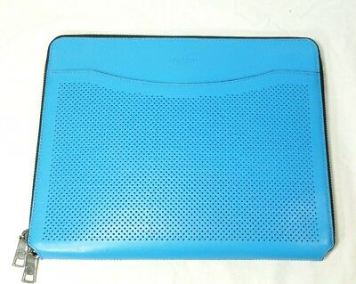 Coach Portfolio Tablet Sleeve Case Electric Blue Perforated Leather EUC