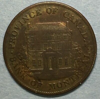 1844 PROVINCE OF CANADA BANK of MONTREAL HALF PENNY TOKEN #SS733