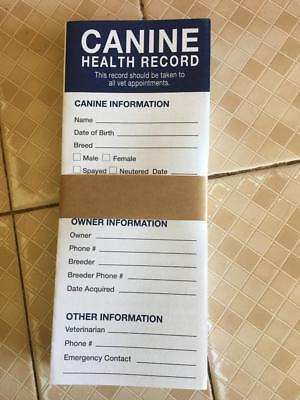 12 Canine Dog Puppy Health Record Vaccine Shot Folder Booklet FREE SHIPPING