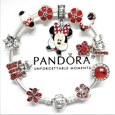 Authentic Pandora Bracelet Silver Bangle With Minnie Mouse Red European Charms..