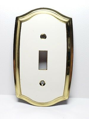 Antique Set Of 6 Light Switch Covers | Porcelain & Gold Brass Look
