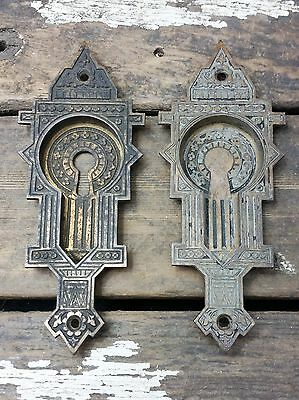 "2 VTG OLd 1880s EASTLAKE Cast Brass ""CRISSCROSS"" Pattern Pocket Pull Door Plate"