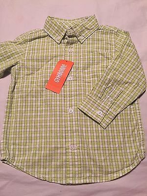 Gymboree Lawn Party Boys Long Sleeve Button Up Shirt Size 18-24 Months Nwt