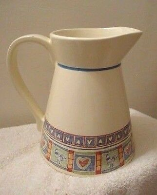 """Vintage Treasure Craft USA Large Pitcher 90 oz Rooster Heart 8-3/4"""" high"""