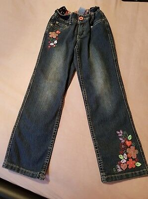 Pumpkin Patch Girls Floral Embroidered Jeans Size 6 In Immaculate Condition