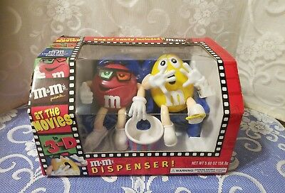 M & Ms At The Movies 3 D Dispenser Red and Yellow; New in Box !
