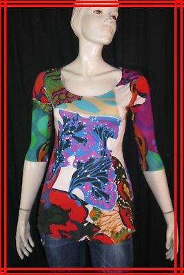 DESIGUAL by CHRISTIAN LACROIX Taille M - 38 Superbe haut top tee shirt bleu rose