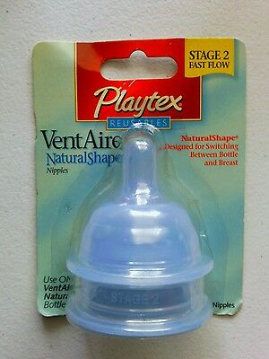 New 2 Blue Playtex Stage 2 Fast Flow Reuseables  Nipples Discontinued