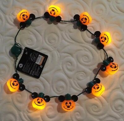 Disney Parks Halloween Mickey Mouse Pumpkin Glow Light Up Necklace New with Tags