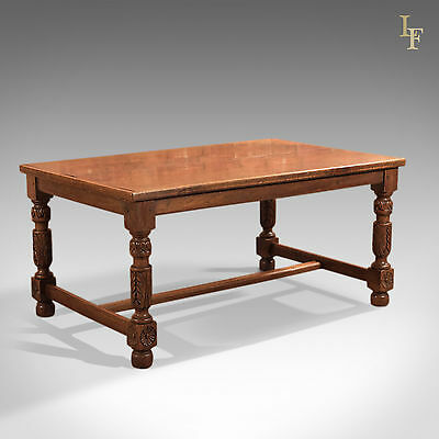 Antique Refectory Table, Low, Work, English, Oak, Serving, Sewing c1800