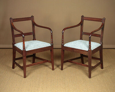 Antique Pair of Regency Mahogany Open Armchairs c.1820
