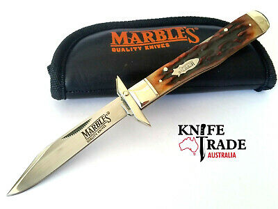 Marbles MR109 Swing Guard Lock Back Folding Pocket Knife Stag Bone Handle EDC