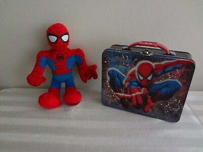 MARVEL SPIDER-MAN SPIDER SENSE EMBOSSED METAL LUNCHBOX CARRY-ALL NWT + Plush Toy