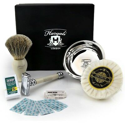 Twist Open DE safety Razor Shaving Soap Bowl and Super Badger Hair brush Set/kit