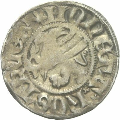 RARE Medieval Coin Silver Hanse Witten of Rostock with Griffin and Cross, XIV с.