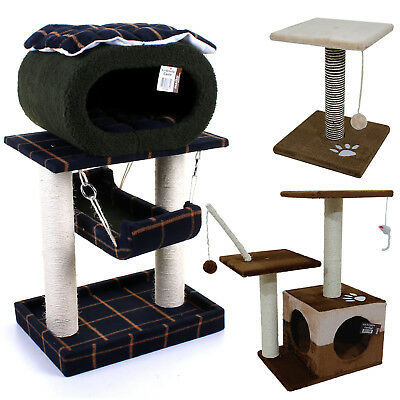 Cat Scratcher Scratching Post Kitten Climb Pole Cat Activity Centre Toy House
